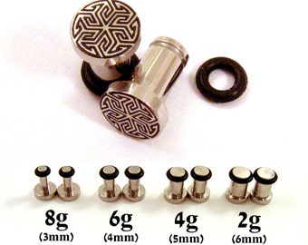 Maze of Life 316L Surgical Steel Plugs - Single Flared - 8g (3mm) 4g (5mm) 2g (6mm) Metal Ear Gauges