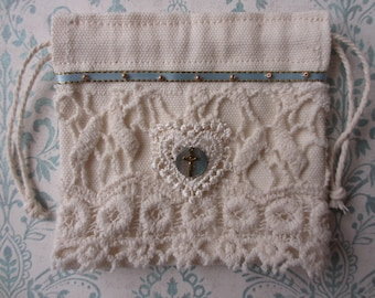 Handcrafted Rosary Pouch Cotton Canvas Lace Drawstring