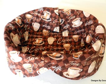 Basket Liner, Table Topper, Centerpiece, Bread Cloth, Coffee Cups, Mugs, Coffee Beans and Descriptive Wording, Handmade Table Linens