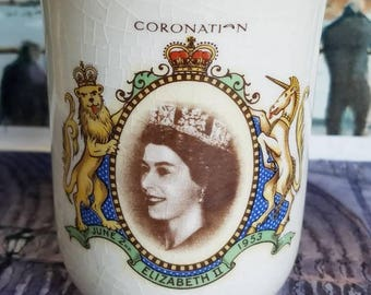 """Vintage Ceramic Cup of """" Coronation of Queen Elizabeth ll"""" 1953- Made in England!"""