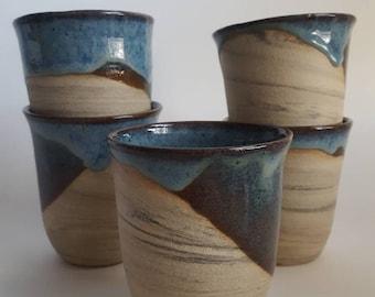 Handmade Blue Stoneware Ceramic Mug, Marbled Ceramic Tumbler, Dipped Blue Glaze on Wine Glass.