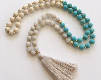 Gemstone Beaded Necklace with Light Gray Tassel