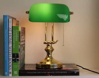Solid Brass Bankers Lamp Green Glass England London library university edwardian art deco nouveau shade tiffany desktop desk top