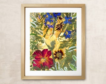 Floral Print Gift For Women Art Of Dried Flowers Pressed Flower Frame Pressed Flower Art Dried Flower Herbarium Framed Flowers Dried Flowers