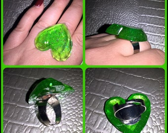 Resin jewelry adjustable heart ring
