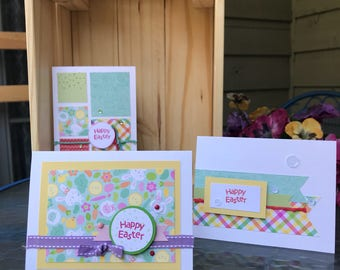 Set of three Happy Easter greeting cards