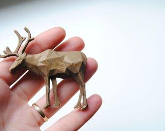 Reindeer Bronze - 3D printed  Polygonal Brooch