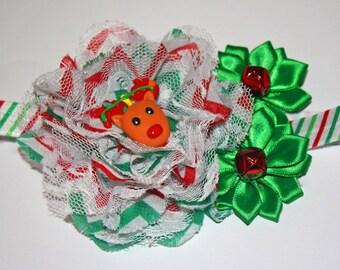Christmas, Reindeer & Jingle Bell Headband (13.5 inches/ NB-6M)