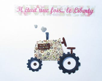 Applied fusible tractor fabric liberty Fairford Brown flex glitter tractor fusible applique liberty pattern iron on patch