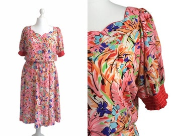 Vintage Floral Dress | 80's Vintage Dress | Virginie Paris | Size Large