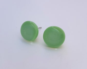 Mint Green Fused Glass Stud Earrings