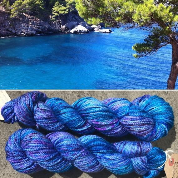 Coastal Lagoon Aran, blue speckled luxuriously soft merino yarn