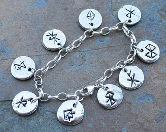 Deluxe Viking Anglo Saxon runic charm bracelet or anklet- bind runes,  chunky sterling silver chain - rune magic- free shipping in USA