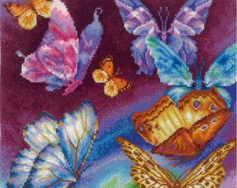 UNOPENED Counted Cross Stitch KIT Make your own hands R-11 Rainbow Butterflies