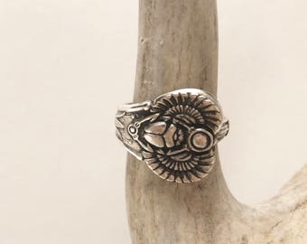 Antique egyptian silver plate scarab beetle spoon ring