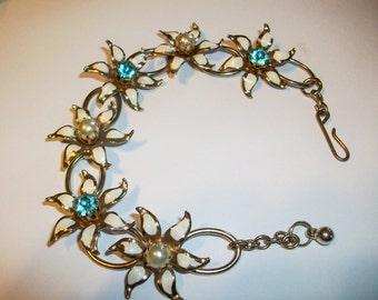 Metal  Enamel Flower Link Bracelet Circa 1950 Pearl and Rhinestone Sets in Flowers