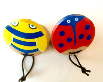 Ladybug and Bumble bee Castanets , Wood toy, Eco friendly toy, Toy Instrument
