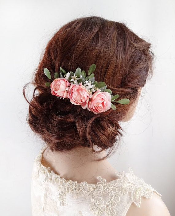 Bridal Hair Comb Pink Rose Clip Floral Accessories Piece Flower