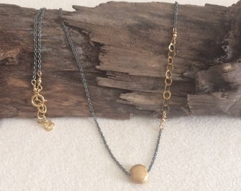 Oxidized Silver, Gold, Asymmetrical, Delicate Necklace