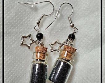 Glass jars earrings black glitter stars