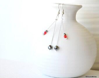 Beaded Glass Earrings, for women, Silver Tiger Thread, Silver Dangle Earrings, Dark Gray Glass Earrings, Delicate Silver Earrings Minimalist