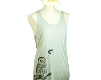 Coffee Owl Oversized Viscose Tank Top, Grey Taupe, Screen Printed, Summer, Festival, Made in USA, Men Women, Unisex - Gifts for Him or Her