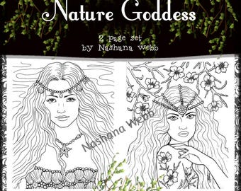 Adult coloring page,woman coloring page, fantasy goddess,2 page pdf download.....by Nashana Webb