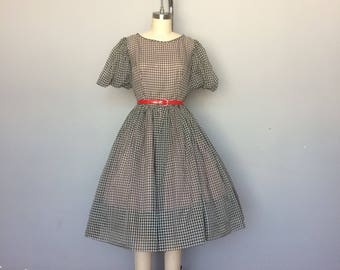 1950s Gingham Dress with Puff Sleeves