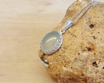 Aqua Chalcedony pendant. 925 sterling silver crown edging. Reiki jewelry uk. Semi precious stone necklace 14x10mm