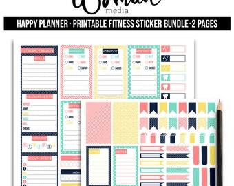 Printable Sticker Bundle, Exercise Stickers, Printable Planner Stickers, Fitness Stickers, Happy Planner, Weekly Stickers
