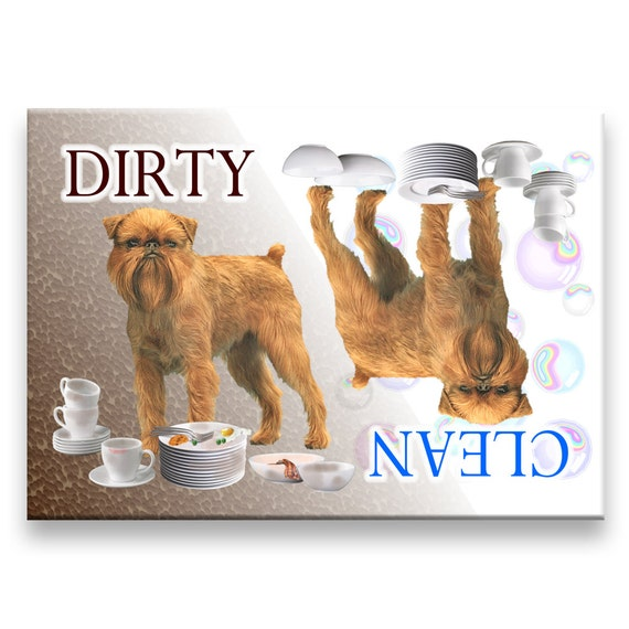 Brussels Griffon Clean Dirty Dishwasher Magnet No 2