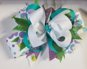 Purple, lime green, and teal hair bow