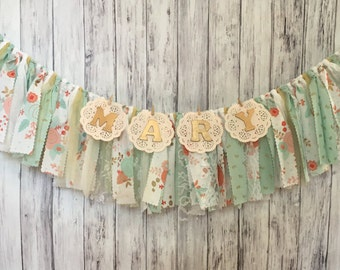 Pink and Mint Garland With Name // Shabby Chic Banner With Name // Vintage Banner With Name // Fabric Garland // Personalized Banner