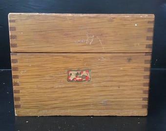 Vintage Weis wood file index card box-dovetailed corners-1950s-vintage wear-sticker-antique-storage-home decoration