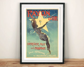 RAYON D'OR POSTER: Vintage French Lamp Advert, Art Print