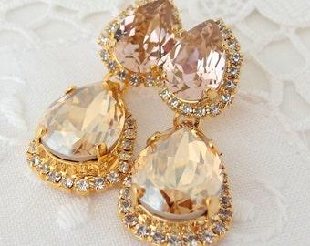 Blush and Champagne crystal Chandelier earrings, Bridal earrings, Bridesmaids gift, Dangle earrings, Drop earrings, Rhinestone  earring