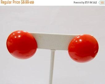 On Sale Vintage Orange Enameled Metal Dome Earrings Item K # 3066