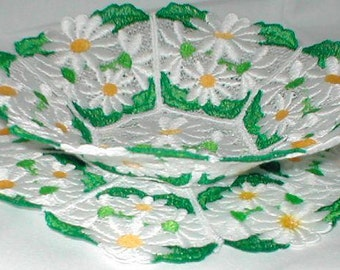 FSL Daisy Bowl and Doily - INSTANT DOWNLOAD - Machine Embroidery - 5x7 hoop