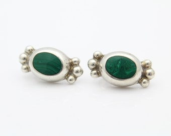 Chunky VTG Sterling Silver and Malachite Green Gemstone Inlay Earrings Mexico. [7374]