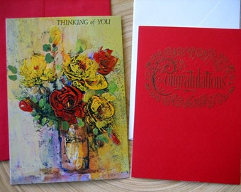 Vintage Greeting Cards Set of 4 Congrats Thinking of You