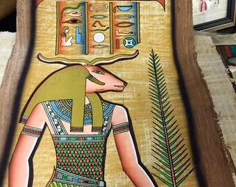 Vintage Hand Painted Papyrus Egyptian God Khnum  Made In Egypt and signed by the original Egyptian Artist.