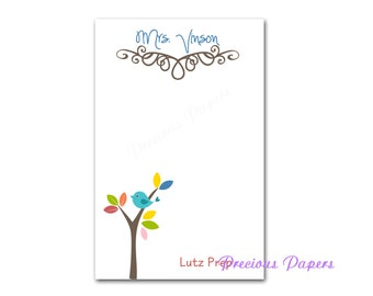 Personalized Teacher note pads Personalized teacher gift Personalized teacher bird in a tree notepad apple note pad