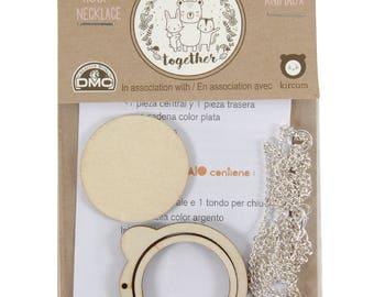 DMC U2053 Bear Mini Animal Embroidery Hoop Necklace - add your own design