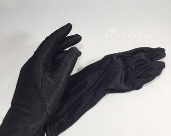 Vintage Mid Century Sized 6 1/2  Black Nylon Gloves 100% All Nylon Black Wrist Length Lady Gloves Driving Gloves Fashion Gloves Dress Gloves