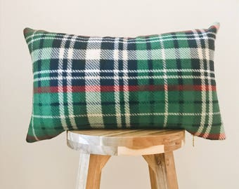 "GREEN PLAID FLEECE - 12x20"" Pillow Cover, Green/Red/Navy/Red/White/Natural"