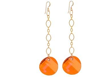 Gold Filled Swavorski Crystal Astral Pink Drop Earring