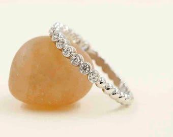 Half Eternity Bezel Wedding Band.Beaded Diamond Wedding Band.14k White, Yellow Diamond Band.14 High Quality Diamond.Stacking Diamond Ring