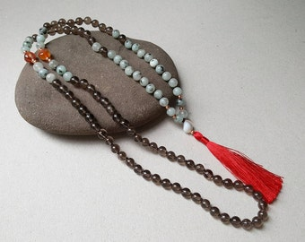 108 mala beads, smoky quartz mala, root chakra necklace, boho necklace, natural stone, jasper, boho tassel necklace, japa mala