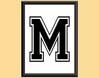 Typography Digital Print Monogram Initial Wall Art Varsity Letter M