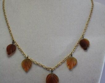 Dark autumn leaves necklace